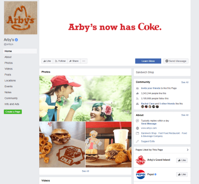 Arby's facebook page